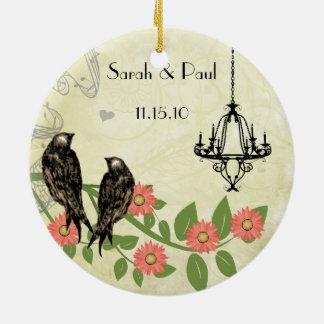 Vintager Vogel-Pfirsich-korallenroter Keramik Ornament