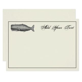 Vintager Wal des 19. Jahrhunderts, 12,7 X 17,8 Cm Einladungskarte