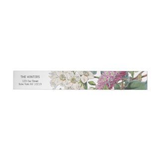Vintager Watercolor-Blumenkunst-Hochzeit Standard Adress Aufkleber