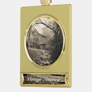 Vintager Waterwheel Banner-Ornament Gold