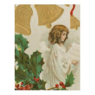 Vintager Weihnachtsengel, -bell und -stechpalme Postkarte