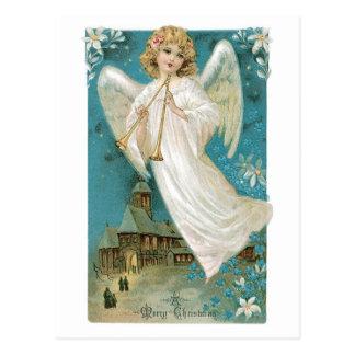 Vintager Weihnachtsengel, der Trompete spielt Postkarte