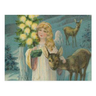Vintager Weihnachtsengel mit Rotwild Postkarte