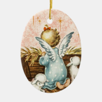 Vintager Weihnachtsengel und -lämmer Ovales Keramik Ornament