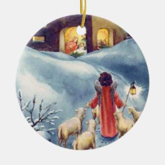 Vintager Weihnachtsengels-SchäferNativity Rundes Keramik Ornament
