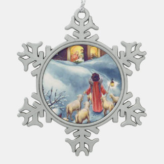 Vintager Weihnachtsengels-SchäferNativity Schneeflocken Zinn-Ornament