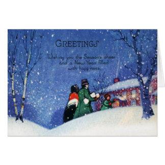 Vintager Weihnachtsgruß-Feiertags-Beifall Karte