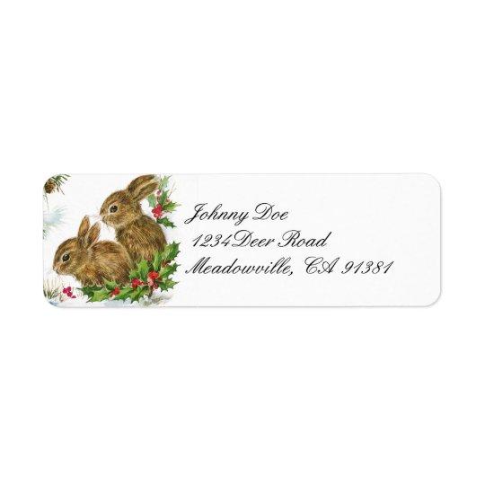 Vintager Weihnachtshäschen-Adresse Avery Aufkleber