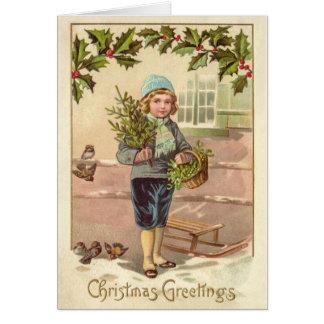 Vintager Weihnachtskarten-viktorianischer Junge, Karte