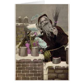 Vintager Weihnachtsmann Grußkarte
