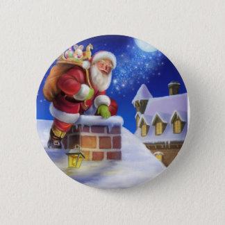 Vintager Weihnachtsmann im Kamin Runder Button 5,1 Cm