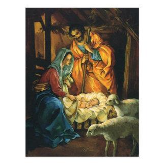 Vintager WeihnachtsNativity, Baby Jesus in der Postkarte