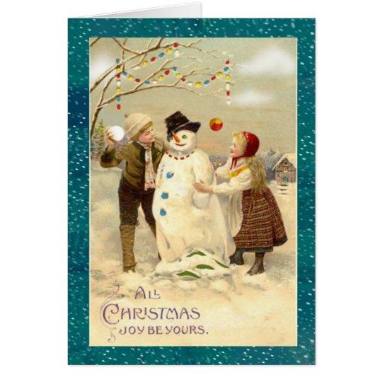Vintager WeihnachtsSnowman Grußkarte