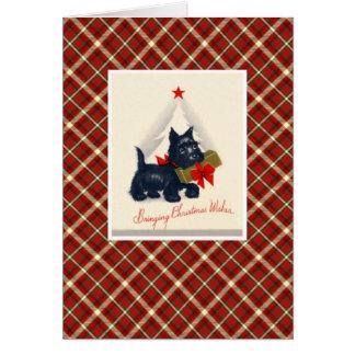Vintager Weihnachtsterrier-Hund Karte