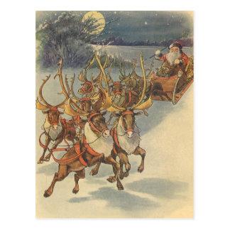 Vintager WeihnachtsweihnachtsmannSleigh mit Ren Postkarte
