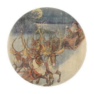 Vintager WeihnachtsweihnachtsmannSleigh mit Ren Schneidebrett