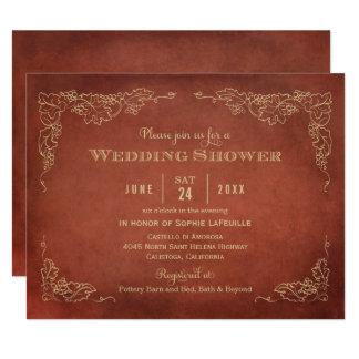 Vintager Weinberg der Polterabend-Einladungs-  Karte