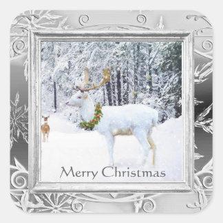 Vintager weißer Rotwild-Weihnachtsaufkleber Quadratischer Aufkleber
