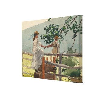 Vintager Winslow Homer auf dem Zauntritt Leinwanddruck
