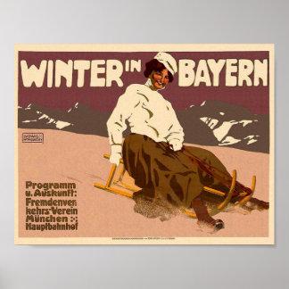 Vintager Winter im Bayern-Reise-Klassiker-Plakat Poster