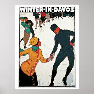 Vintager Winter in der Davos-Reiseanzeige Poster