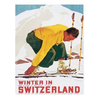 Vintager Winter in der Schweiz Postkarte
