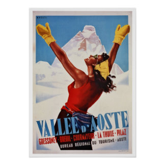 Vintager Winter italienische Alpenreise wandernd Poster