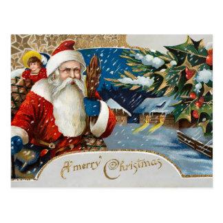 Vintager Winter Sankt Postkarte