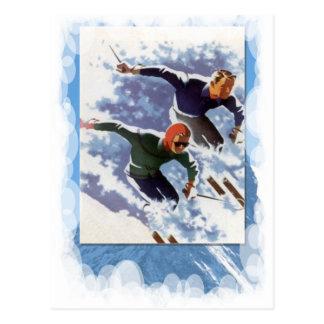 Vintager Winter-Sport - Rennen Postkarte