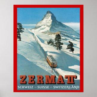 Vintager Winter-Sport, Ski die Schweiz, Zermatt Poster
