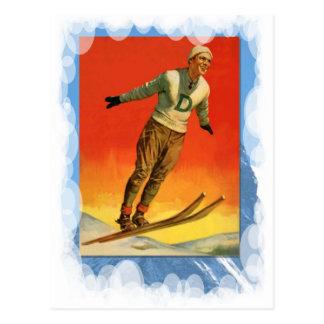 Vintager Winter-Sport - Skipullover Postkarte