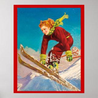 Vintager Wintersport, Damenskipullover Poster