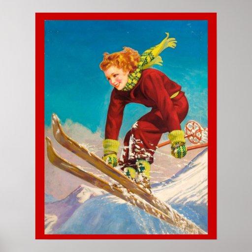 Vintager Wintersport, Damenskipullover Plakatdrucke