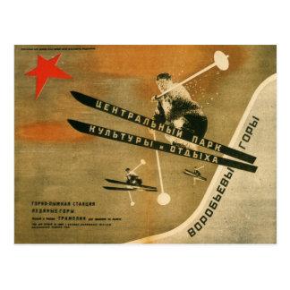 Vintager Wintersport, russisches Skiplakat Postkarten