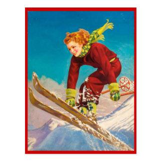 Vintager Wintersport, Ski abwärts Postkarten