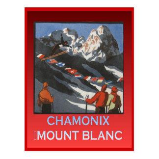 Vintager Wintersport, Ski Chamonix, Berg Blanc Postkarte