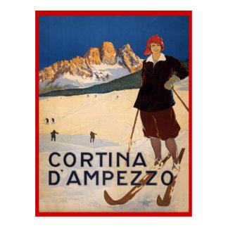 Vintager Wintersport, Ski Cortina d'Ampezzo, Postkarte