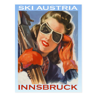 Vintager Wintersport, Ski Österreich, Innsbruck Postkarte