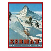 Vintager Wintersport, Ski Zermatt, die Schweiz Postkarte