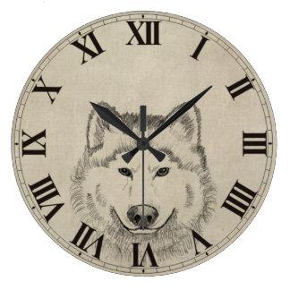 Vintager Wolf Große Wanduhr