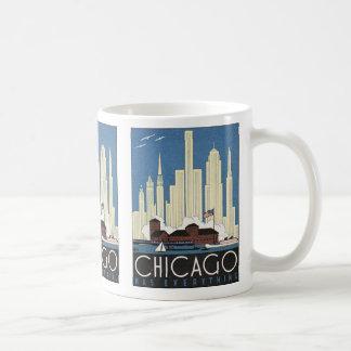 Vintager WolkenkratzerSkyline Reise-Chicagos Tasse