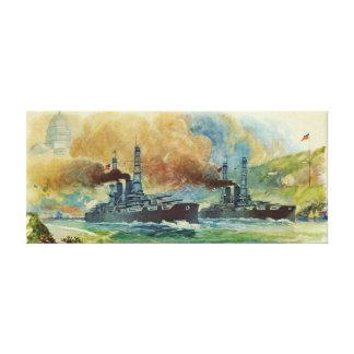 Vintager WWI Schlachtschiff-Leinwand-Druck Leinwanddruck