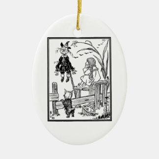 Vintager Zauberer von Oz, Treffen-Vogelscheuche Keramik Ornament