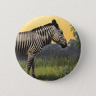 Vintager Zebra in der afrikanischen Savanne, Runder Button 5,1 Cm