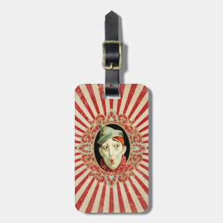 Vintager Zirkus-Clown und Retro Streifen-Muster Gepäckanhänger