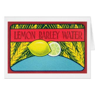 Vintager Zitronen-Gersten-Wasser-Aufkleber Karte