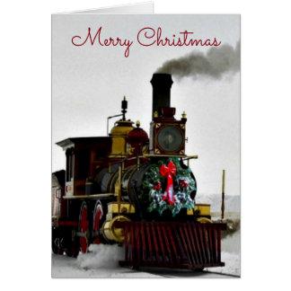 Vintager Zug mit frohe Weihnacht-Gruß-Karte Karte
