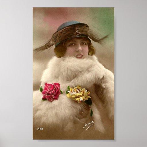 Vintager Zwanzigerjahre Damen-Prallplatten-Hut-Kun Poster