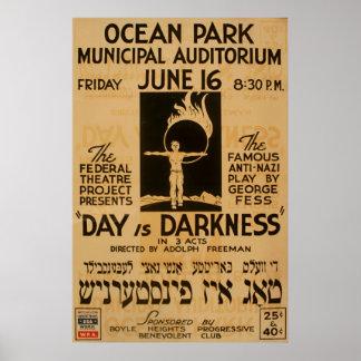 Vintages 1939 WPA Plakat des Yiddish Antispiel-