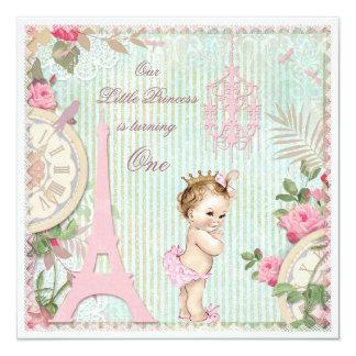 Vintages 1. Geburtstag Paris-Prinzessin-Shabby Quadratische 13,3 Cm Einladungskarte